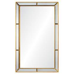 Erin Modern Classic Gold Leaf Hand Cut Mirror Framed Wall Mirror