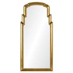 Sasha Hollywood Regency Burnished Gold Leaf Queen Anne Style Mirror