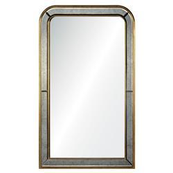 Vera Hollywood Regency Burnished Gold Leaf Wood Rectangular Wall Mirror