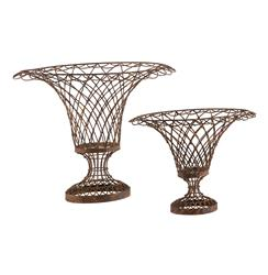 Set of 2 Wire Frame French Country Oval Vase Baskets | AG-7730GR SET