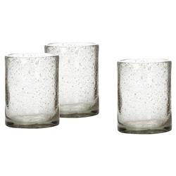 Cash Coastal Beach Clear Glass Candleholder - Set of 3