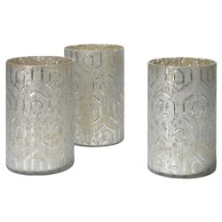 Conor Modern Classic Grey Glass Candleholder - Set of 3