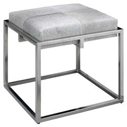 Gael Modern Classic Small Square Grey Hide Upholstered Silver Metal Stool