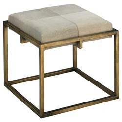 Gael Modern Classic Small Square White Hide Upholstered Gold Metal Stool