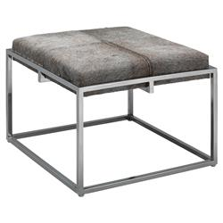 Gael Modern Classic Large Square Grey Hide Upholstered Silver Metal Stool