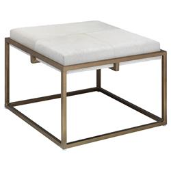 Gael Modern Classic Large Square White Hide Upholstered Gold Metal Stool