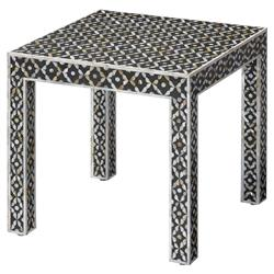 Hope Global Bazaar Square Silver Metal Black White Shell Side Table