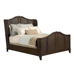Avery Casual Cottage French Caned Rich Brown Finish Queen Bed | BMS-5000.50.BO