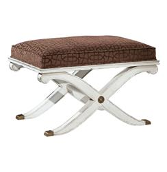 Byron Neoclassical Ivory Brown Lattice Hollywood Regency Ottoman | BMS-240.VI