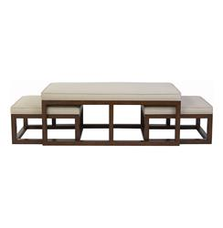 Chatham Brown Coffee Table Ottoman with Stools - Natural Linen