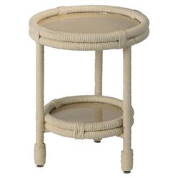 Myles Coastal Beach Round Clear Glass White Rope Side Table