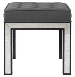 Eden Hollywood Regency Mirrored Ottoman Smoke Gray Tufted Seat | BMS-4056.EL