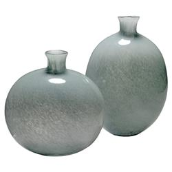 Quinn Modern Classic Grey Glass Decorative Vase - Set of 2