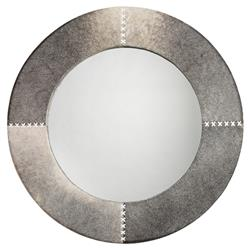 Tessa Modern Classic Round Grey Hide Wall Mounted Mirror