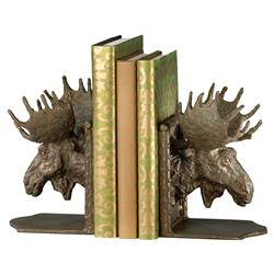 Moore Modern Classic Bronze Metal Moose Head Bookends