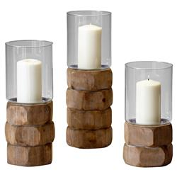 Tompkins Rustic Lodge Natural Wood Glass Candleholder - Small