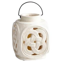 Leticia French Country White Ceramic Candle Lantern