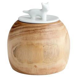 Felicity Modern Classic Oak Wood Ceramic Cat Jar