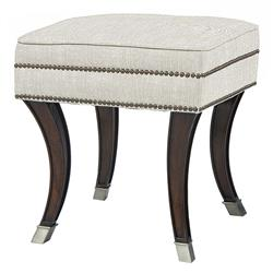 Mia Regency Espresso Antique Pewter Curved Leg Nail Head Ottoman Stool | BMS-4025E.EL.N