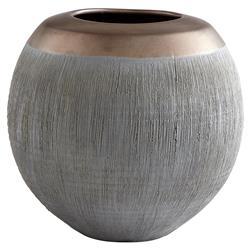 Cairo Global Bazaar Grey Bronze Ceramic Vase - Small
