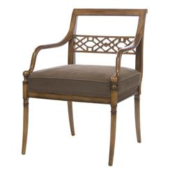 Hollywood Regency Golden Sable Fretwork Occasional Arm Chair | BMS-4015.GS