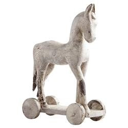 Felix French Country Antique White Wood Decorative Horse Sculpture - Small