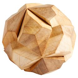 Vesper Industrial Loft Natural Faceted Wood Orb Puzzle Sculpture