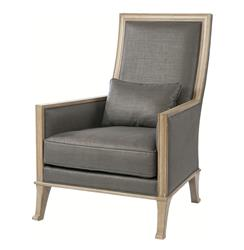 Riley Contemporary Steel Gray Linen High Back Accent Chair | BMS-4033.BW