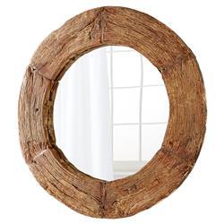 Ballinger Modern Classic Walnut Wood Round Wall Mirror - 50D