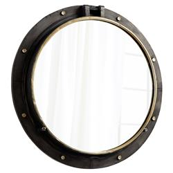 Mina Industrial Loft Rustic Bronze Gold Round Barrel Wall Mirror - 29.5D