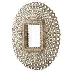 Leigh Modern Classic Round Rustic Ash Resin Wall Mirror