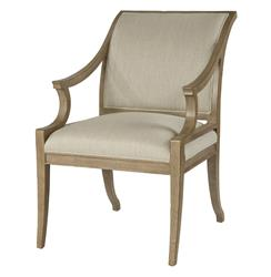 Isabelle Pavilion Regency Style Natural Linen Dining Arm Chair | BMS-4031A.BW