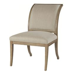 Isabelle Pavilion Regency Style Natural Linen Dining Side Chairs