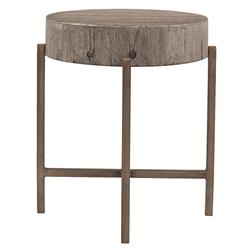 David Modern Copper Metal Leg Distressed Grey Round Hardwood Side End Table
