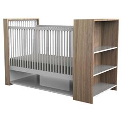 ducduc Aj Modern White Bleached Walnut Storage Shelf Crib