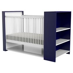 ducduc Aj Modern White Blue Storage Shelf Crib