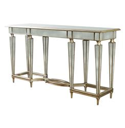 Emerson Antique Mirror Hollywood Regency Double Stretcher Console | Kathy Kuo Home