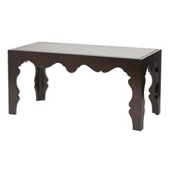Gigi Hollywood Scalloped Antique Mirrored Espresso Coffee Table | BMS-6047.EL