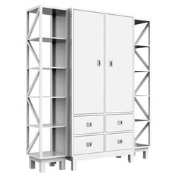ducduc Campaign Modern White Side Shelves Armoire