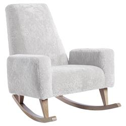 ducduc Collins Modern White Shearling Natural Maple Rocking Chair