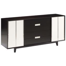 Ryder Mid Century Modern Deco Ivory Espresso Dresser