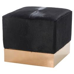 Resource Decor Morrison Modern Classic Black Hide Gold Base Ottoman