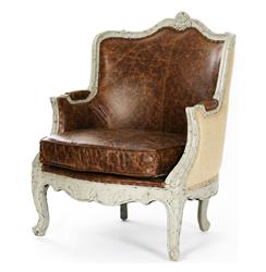 Adele French Country Top Grain Leather Burlap Accent Arm Chair | CFH198 432 CP035