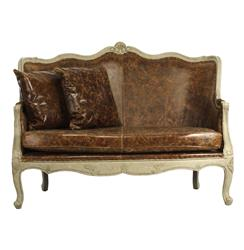 Adele French Country Top Grain Leather Burlap Settee Loveseat