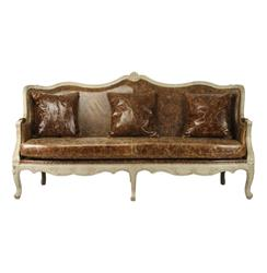 Adele French Country Top Grain Leather Burlap Barrel Back Sofa