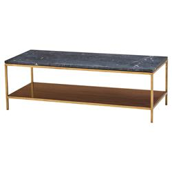 Maison 55 Copeland Mid Century Modern Black Marble Gold Coffee Table