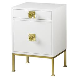 Boyd Modern Classic White Wood Frame Gold Metal Base Nightstand