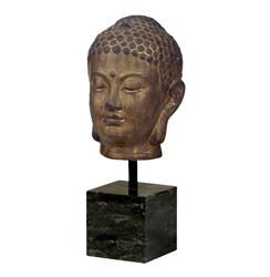 Large Bronze Buddha Head Sculpture on Marble Base