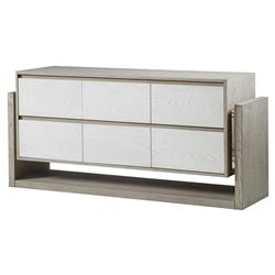 Resource Decor Newman Modern Classic Grey Wood 6 White Drawer Dresser