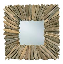 Bonita Coastal Beach Modern Square Driftwood Rustic Wall Mirror